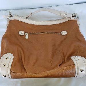 Guess Mariano Camel Tan Gold Classic Shoulder Bag
